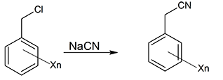 Benzyl chloride to benzyl cyanide(X=- Cl or –CH3, n= 1 or 2)
